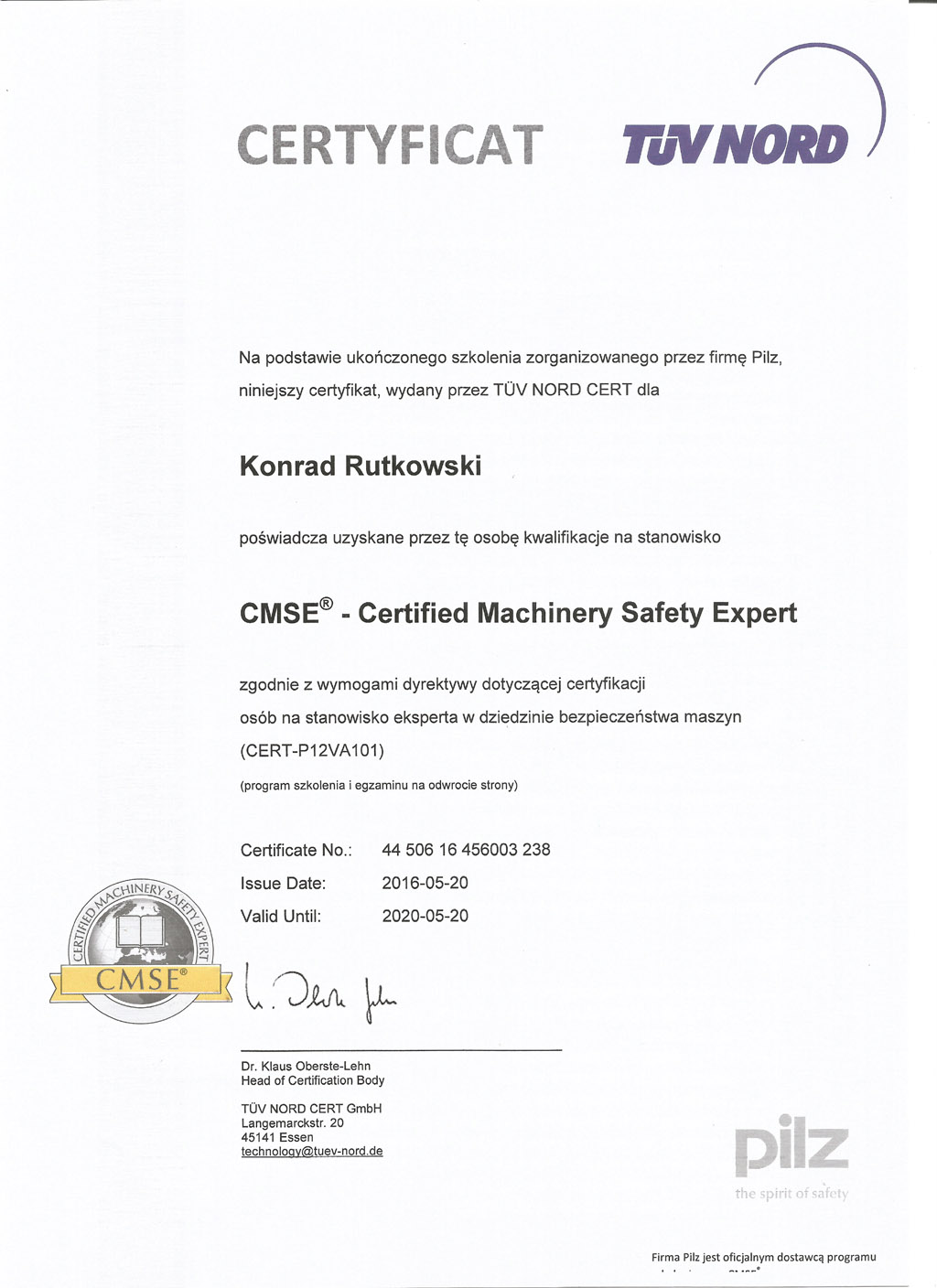 cmse machine safety certyficate